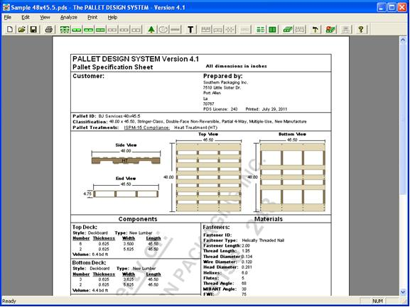 A sample specification sheet